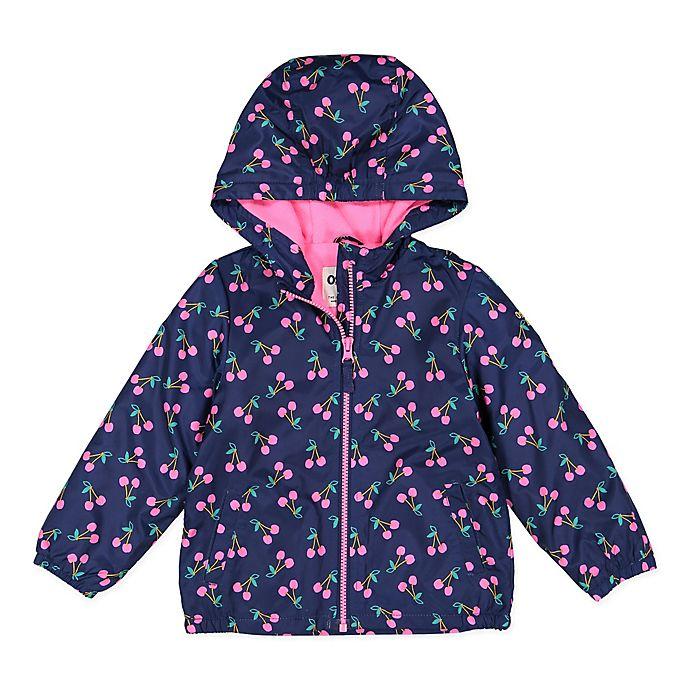 Alternate image 1 for OshKosh B'gosh® Size 24M Cherry Hooded Jacket in Navy