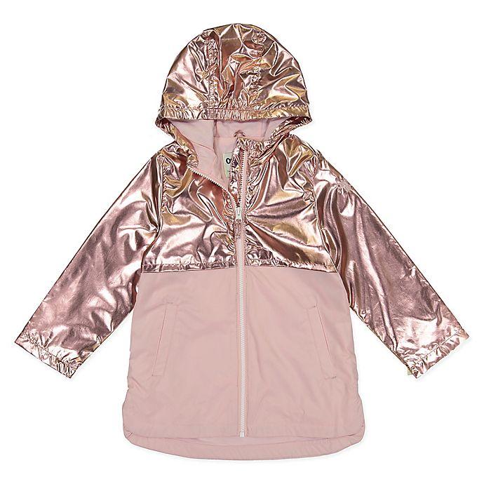Alternate image 1 for OshKosh B'gosh® 2-Tone Metallic Zipperd Rain Slicker in Pink