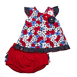 2-Piece Floral Tunic and Diaper Cover Set in Red