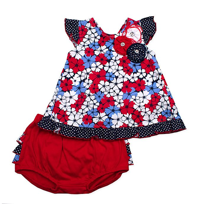 Alternate image 1 for 2-Piece Floral Tunic and Diaper Cover Set in Red