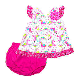 2-Piece Unicorn Tunic and Diaper Cover Set in Pink