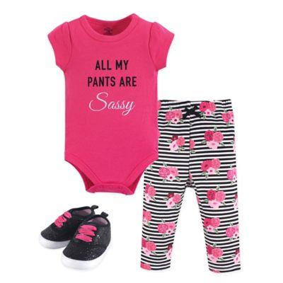 Flawless Little Treasure Girl Long-Sleeve Bodysuit Pant and Shoe