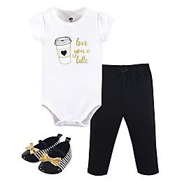 Hudson Baby® 3-Piece Latte Bodysuit, Pant and Shoe Set