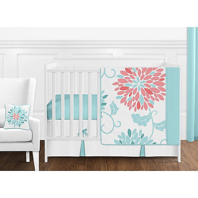 Alternate image 1 for Sweet Jojo Designs Emma 11-Piece Crib Bedding Set in White/ Turquoise