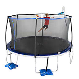 TruJump Trampoline with Enclosure and AirDunk Basketball System in Blue