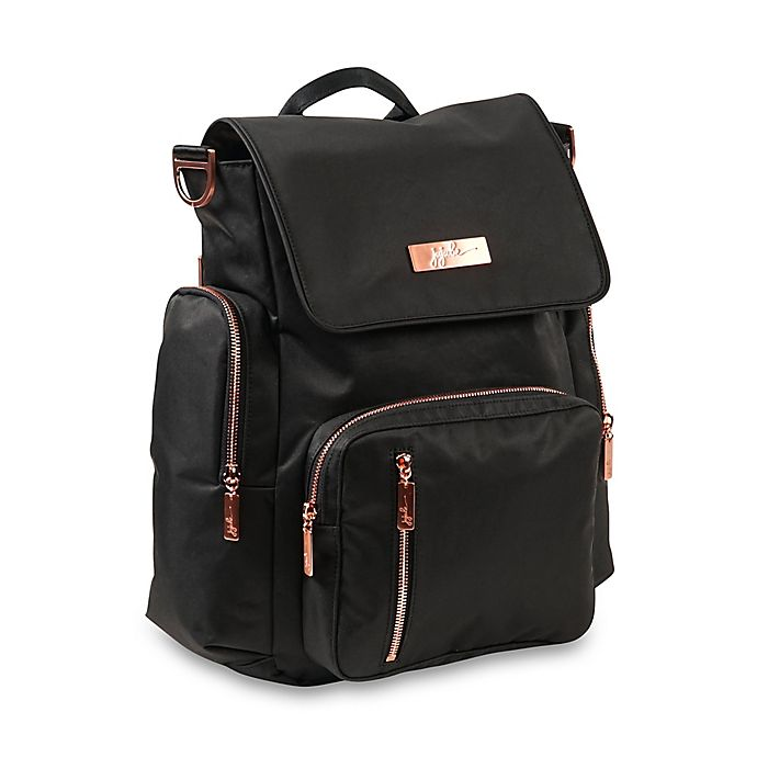 Alternate image 1 for Ju-Ju-Be® Be Sporty Diaper Backpack in Black/Rose Gold