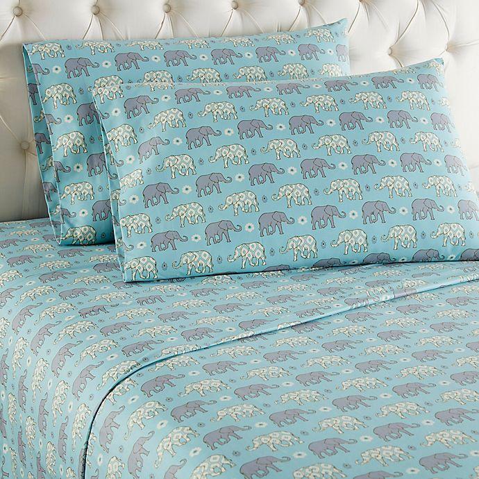 Alternate image 1 for Micro Flannel® Elephants California King Sheet Set in Blue