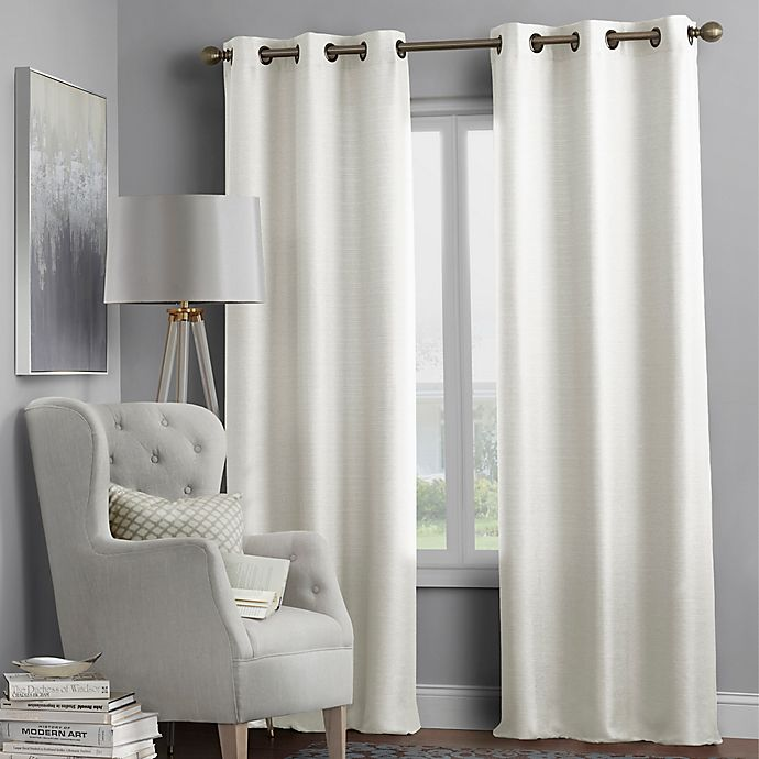 Alternate image 1 for Hartsville Textured 4-Pack 108-Inch Grommet Window Curtain Panel Set in Beige