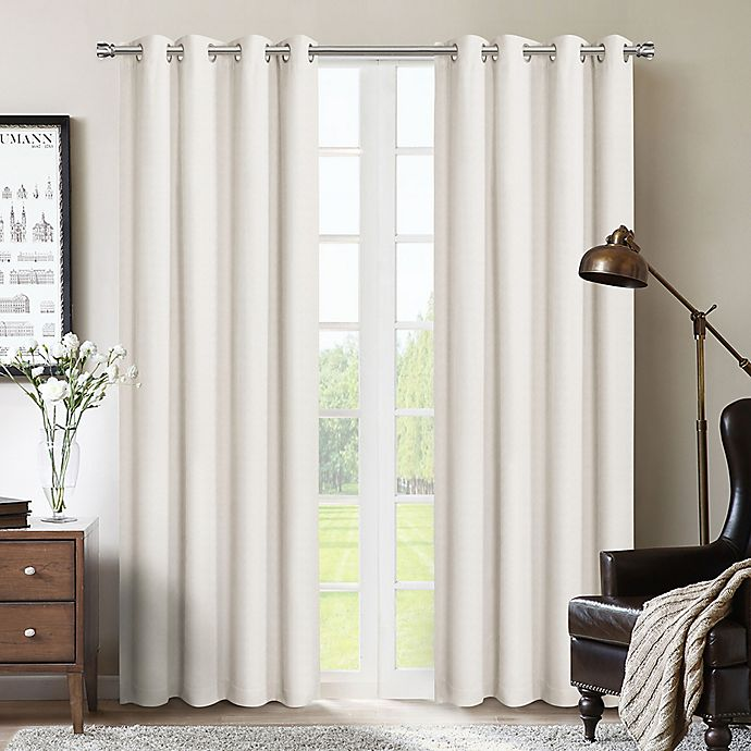 Alternate image 1 for Therapedic® Nantes 63-Inch 100% Blackout Grommet Window Curtain Panel in Beige