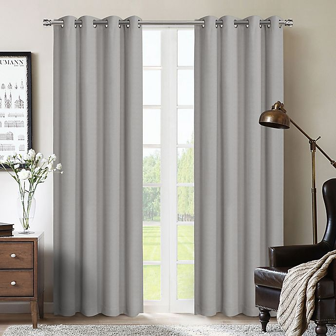 Alternate image 1 for Therapedic® Nantes 95-Inch 100% Blackout Grommet Window Curtain Panel in Silver