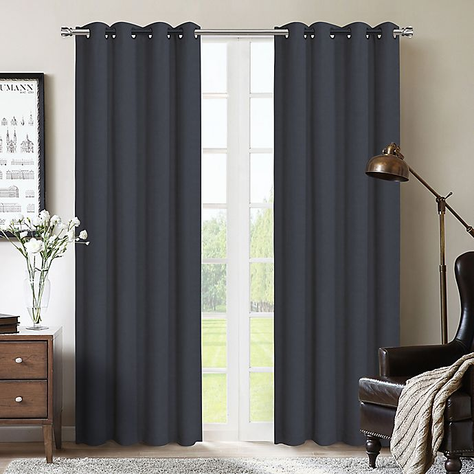Alternate image 1 for Therapedic® Nantes 84-Inch 100% Blackout Grommet Window Curtain Panel in Marine