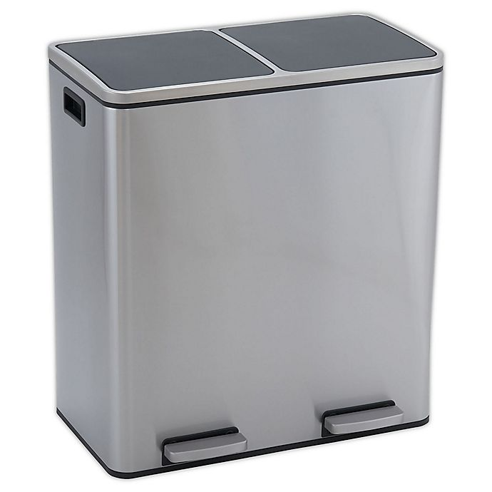 Alternate image 1 for Household Essentials® Design Trend 30-Liter Stainless Steel Step Recycle and Trash Can