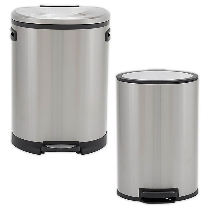 Alternate image 1 for Household Essentials® Stainless Steel Oval Step Trash Can
