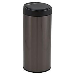 Household Essentials® 30-Liter Round Stainless Steel Sensor Trash Can in Black
