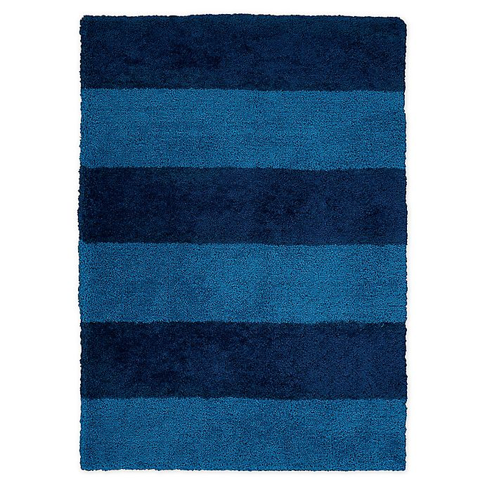 Alternate image 1 for Calvin Klein® Chicago Tufted Striped Shag 4' x 6' Area Rug in Blue