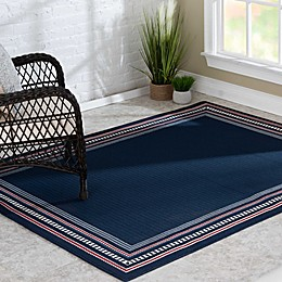Destination Summer Miami Americana Border Indoor/Outdoor Rug in Navy