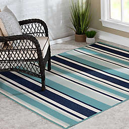 Destination Summer Miami Stripe Indoor/Outdoor Rug in Aqua