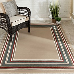 Destination Summer Miami Border Indoor/Outdoor Rug in Beige