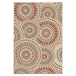 Destination Summer Miami Medallion Indoor/Outdoor Rug in Silver