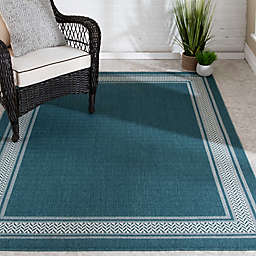 Miami Teal Border Indoor/Outdoor Area Rug