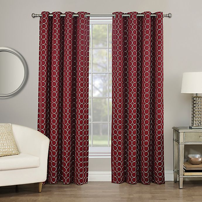 Alternate image 1 for Rings Circle Embroidered 84-Inch Grommet 100% Blackout Window Curtain Panel in Berry