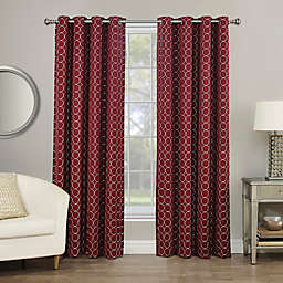 Rings Circle Embroidered 84-Inch Grommet 100% Blackout Window Curtain Panel in Berry