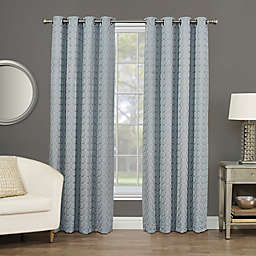 Rings Circle Embroidered Grommet 100% Blackout Window Curtain Panel
