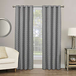 Rings Circle Embroidered 84-Inch Grommet 100% Blackout Window Curtain Panel in Pewter