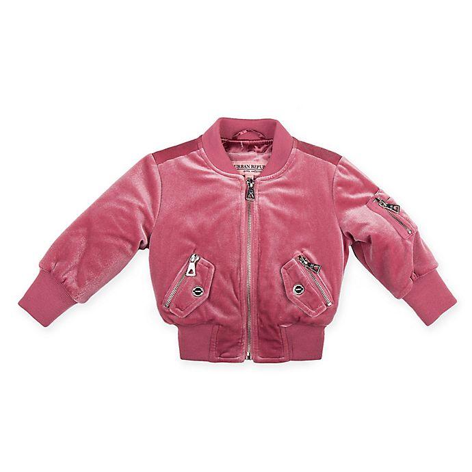 Alternate image 1 for Urban Republic Quilted Velvet Bomber Jacket in Dusty Rose