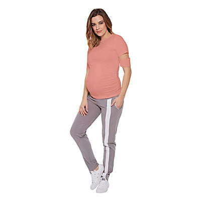 Stowaway Collection Slit Sleeve Maternity Tee in Peach