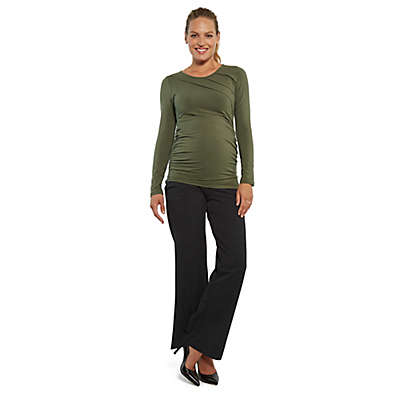 Stowaway Collection Sunburst Maternity Top in Army Green