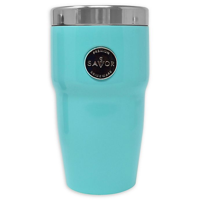 Alternate image 1 for Savor® Retro Wave 12 oz. Double Wall Stainless Steel Car Cup in Teal