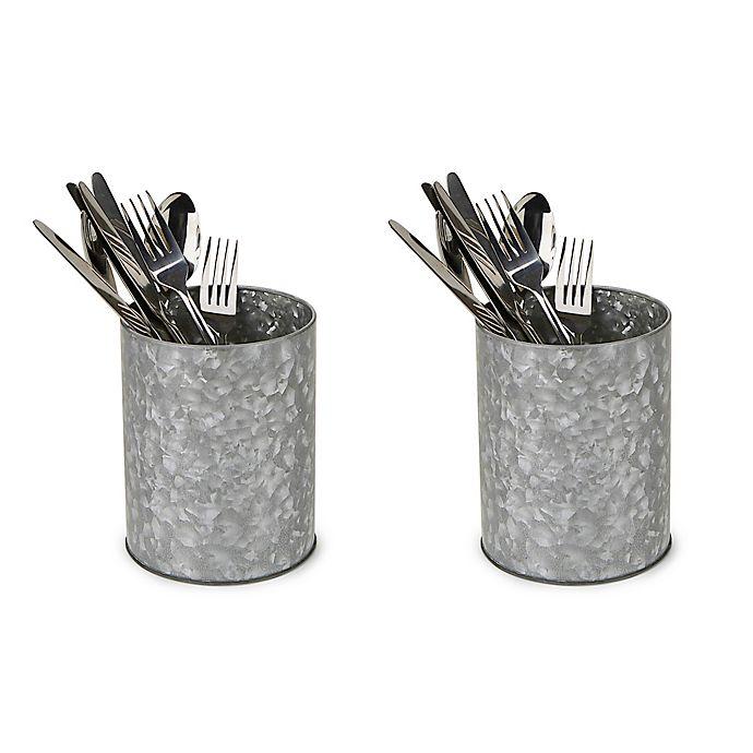 Alternate image 1 for Mind Reader Freestanding Utensil Holders in Silver (Set of 2)