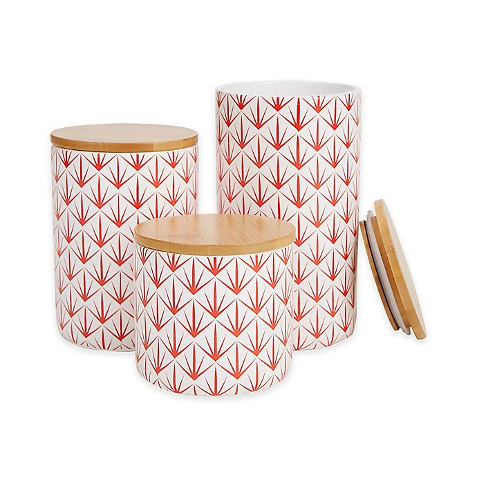 Alternate image 1 for Mind Reader Arrow 3-Piece Canister Set in Red