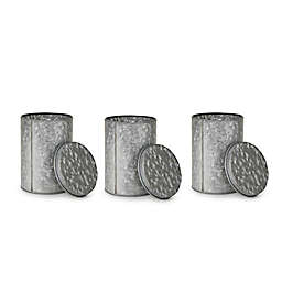 Mind Reader Galvanized Metal Containers in Silver (Set of 3)