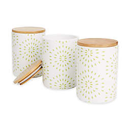 Mind Reader Dot Medium Canisters in Green/White (Set of 3)