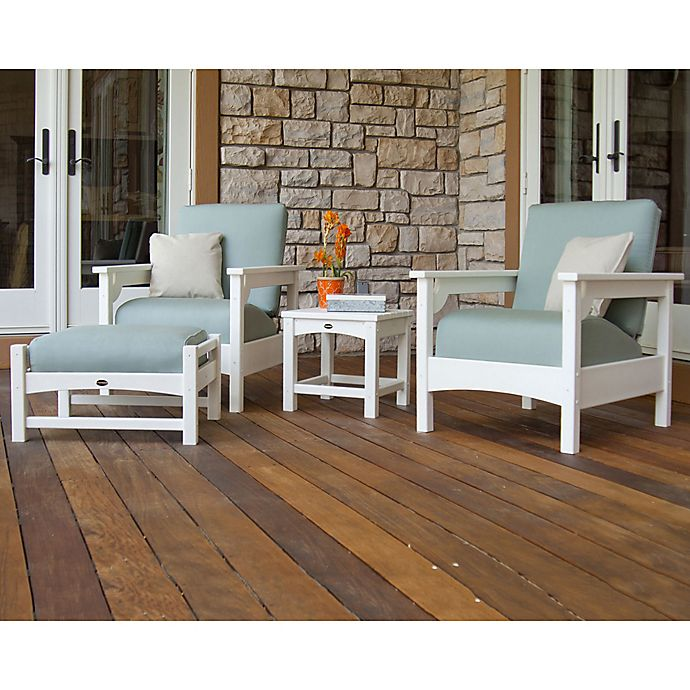 Alternate image 1 for POLYWOOD® Club 4-Piece Deep Seating Set in White/Blue