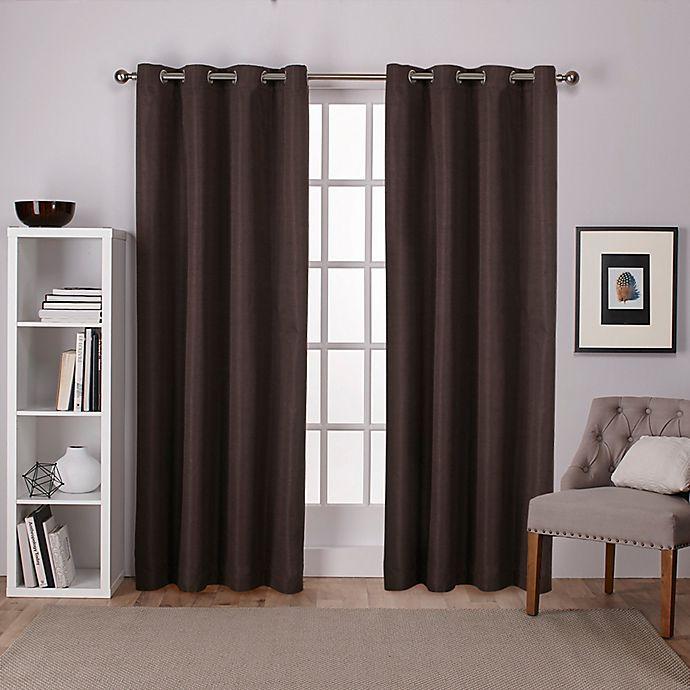 Alternate image 1 for Raw Silk Grommet Top Room Darkening Window Curtain Panel Pair