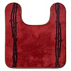 """HiEnd Accents 20.5"""" x 24"""" Barbwire Contour Bath Rug in Red"""