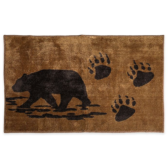 Alternate image 1 for HiEnd Accents Bear Print Bath Rug in Brown