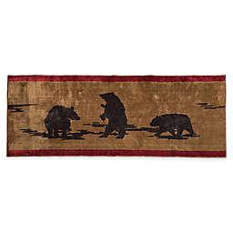 """HiEnd Accents 24"""" x 60"""" Bear Print Bath Rug in Brown"""