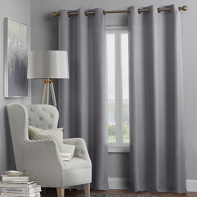 Alternate image 1 for Hartsville Textured 4-Pack 63-Inch Grommet Window Curtain Panel Set in Grey