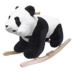 Happy Trails Plush Rocking Panda Bear Ride-On in Black/White