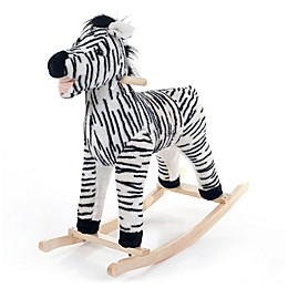 Happy Trails Plush Rocking Zebra Ride-On in Black/White