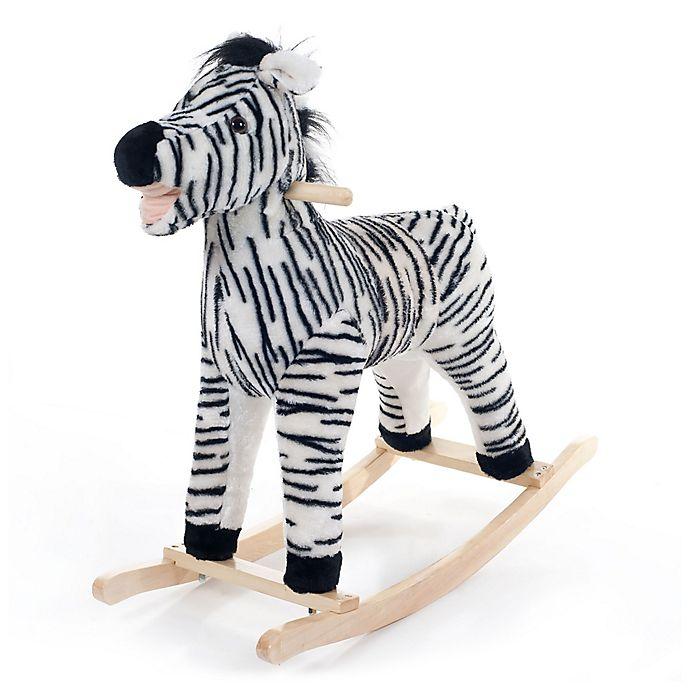 Alternate image 1 for Happy Trails Plush Rocking Zebra Ride-On in Black/White
