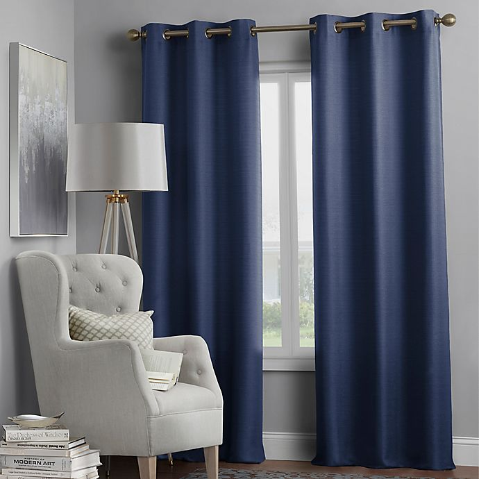 Alternate image 1 for Hartsville Textured 4-Pack 108-Inch Grommet Window Curtain Panel Set in Navy