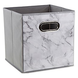 Relaxed Living 11-Inch Collapsible Bin in Marble White