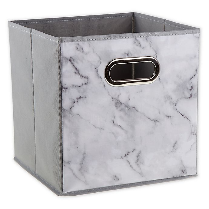 Alternate image 1 for Relaxed Living Marble White 11-Inch Square Collapsible Storage Bin