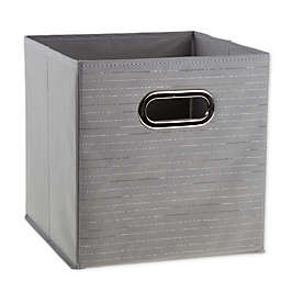 Relaxed Living Silver Foil 11-Inch Square Collapsible Storage Bin