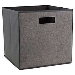 ORG Herringbone 13-Inch Square Collapsible Storage Bin in Black/White